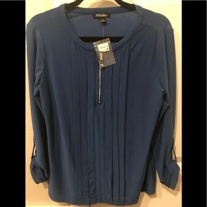 Roz & Ali Medium Navy Blue Zipper Blouse NWT